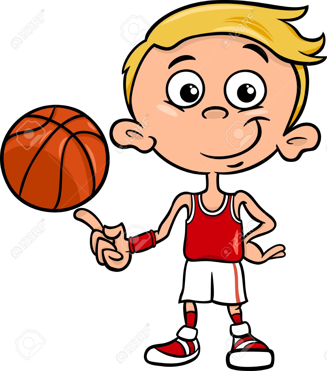 Cartoon Illustration Of Funny Boy Basketball Player With Ball Royalty Free Cliparts Vectors And Stock Illustration Image 32144072