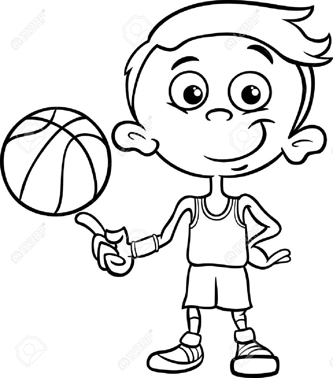 Black And White Cartoon Illustration Of Funny Boy Basketball Player With Ball For Coloring Book Stock