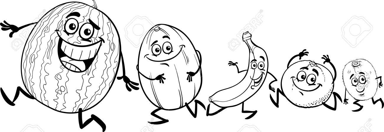 Schwarz Und Weiß Karikatur Illustration Von Funny Lauf Früchte Essen ...