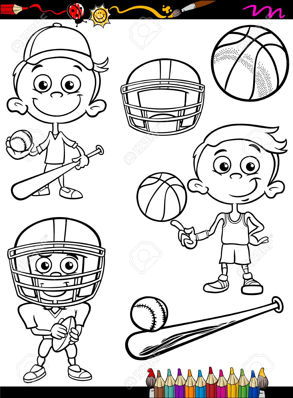 Coloring Book Or Page Cartoon Illustration Of Black And White Boy Kid Playing Baseball Basketball