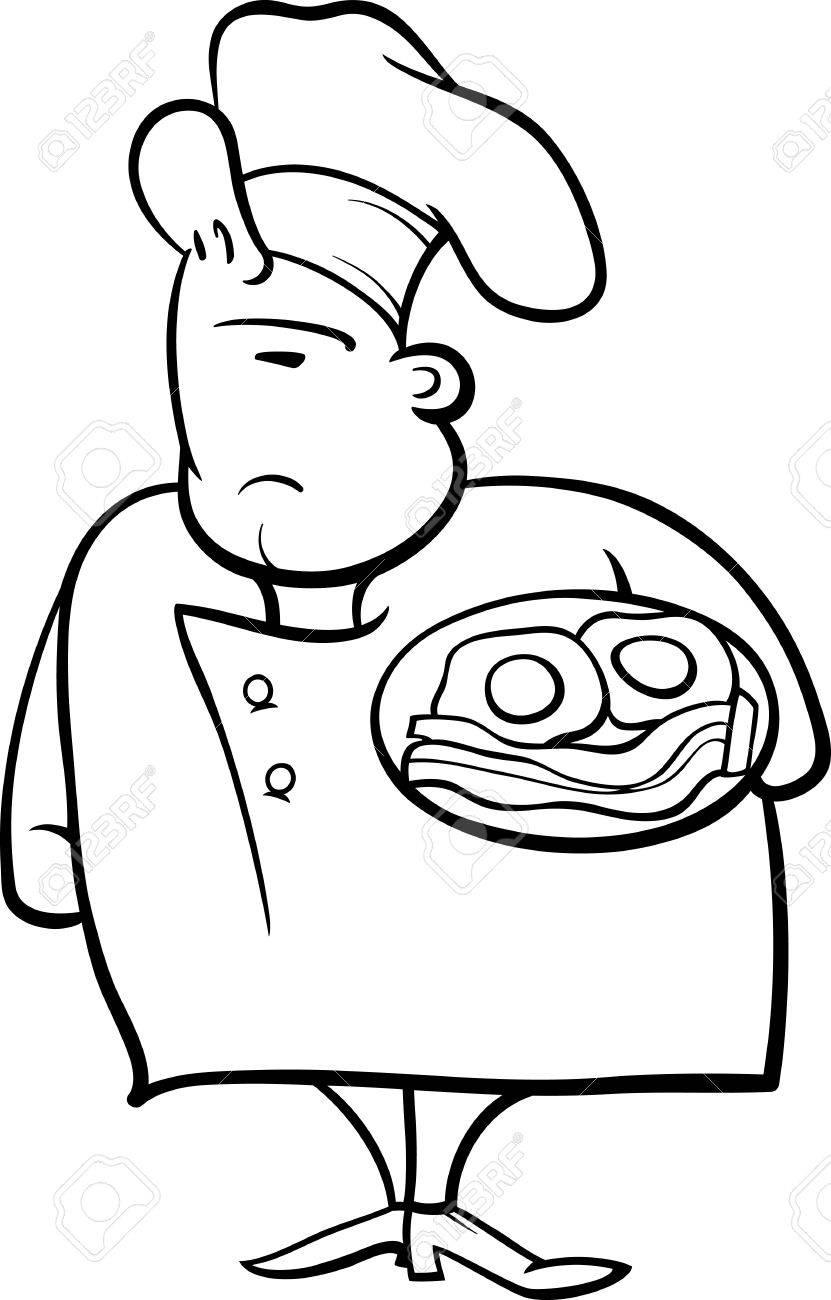 ベーコンと卵塗り絵を面白い英語のシェフかコックの黒と白の漫画イラスト
