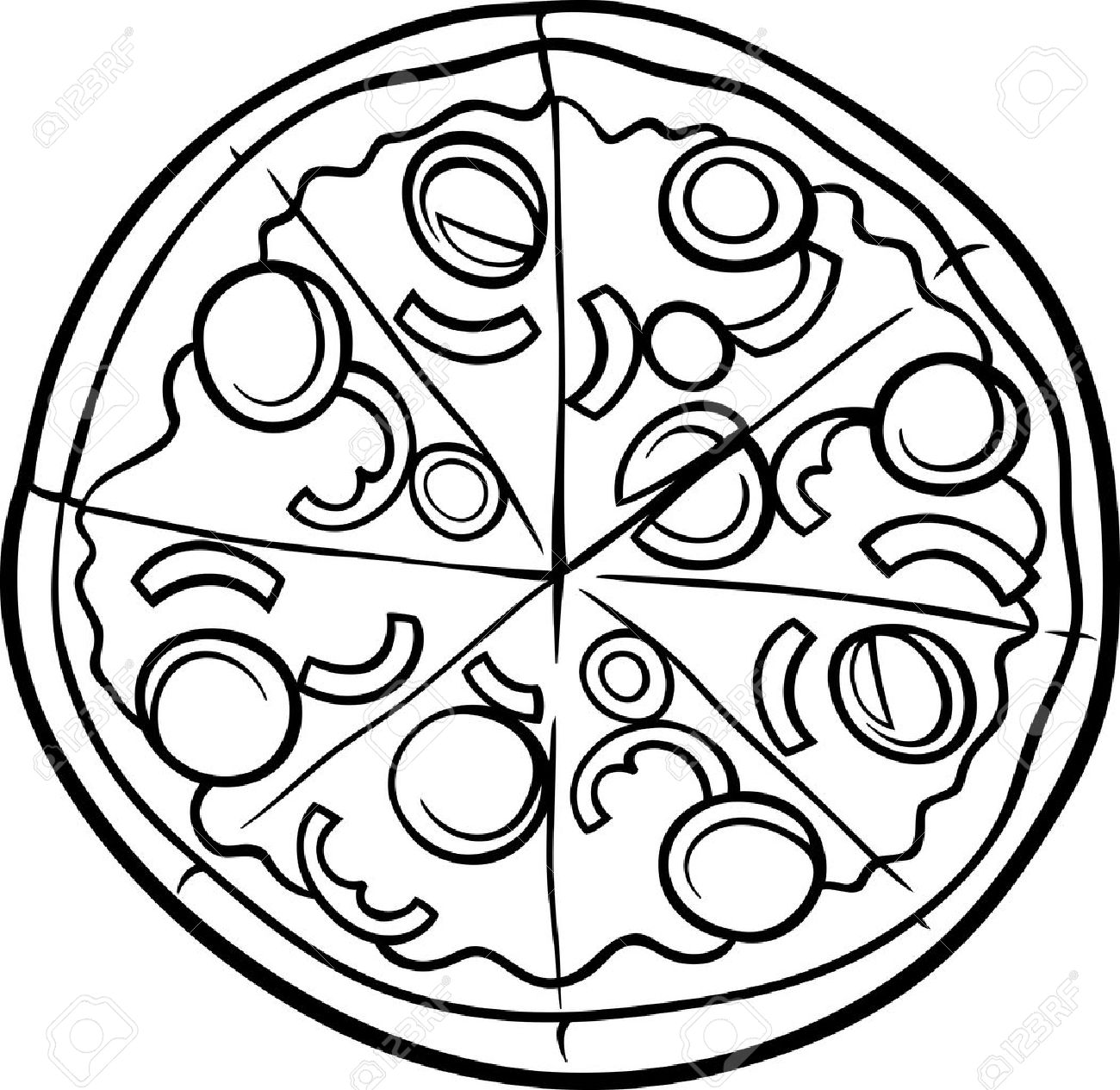 Black and white cartoon illustration of italian pizza food object for coloring book stock vector