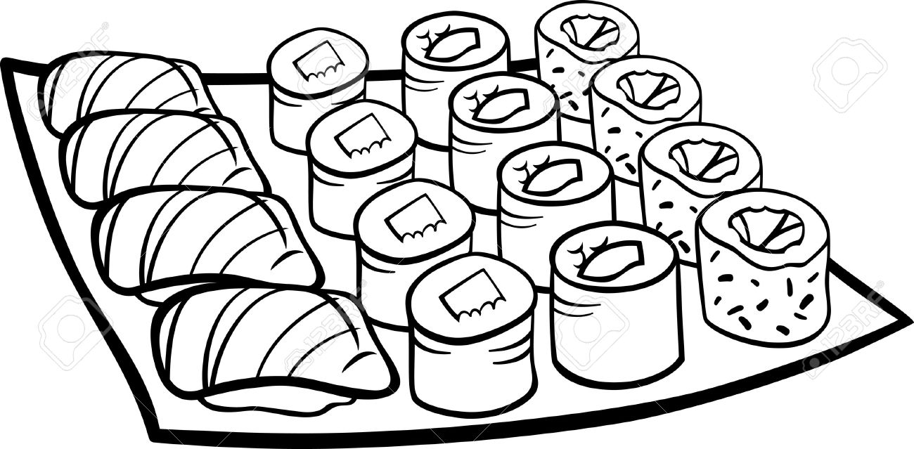 Black And White Cartoon Illustration Of Sushi Meal Food Objects For Coloring  Book Stock Vector
