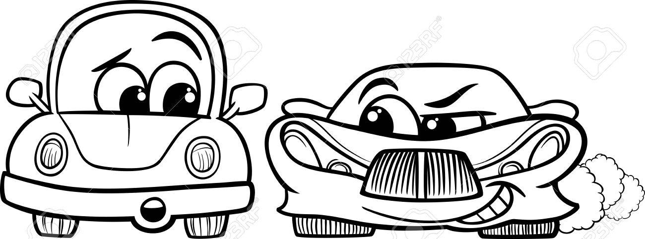 Black And White Cartoon Illustration Of Malicious Sports Car Retro Automobile For Coloring Book Stock