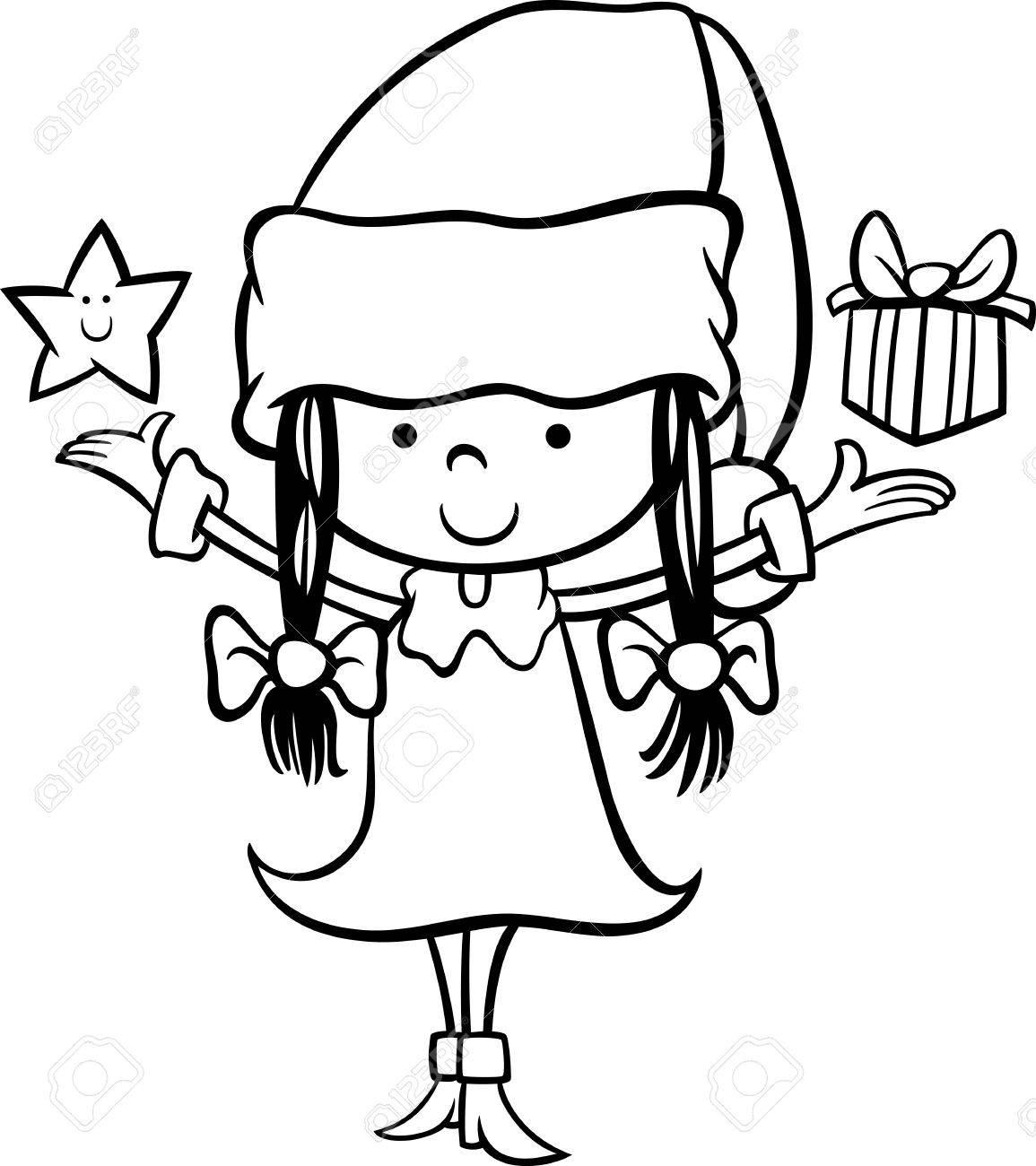 クリスマスの星と塗り絵のプレゼント サンタ クロースの女の子の黒と白の