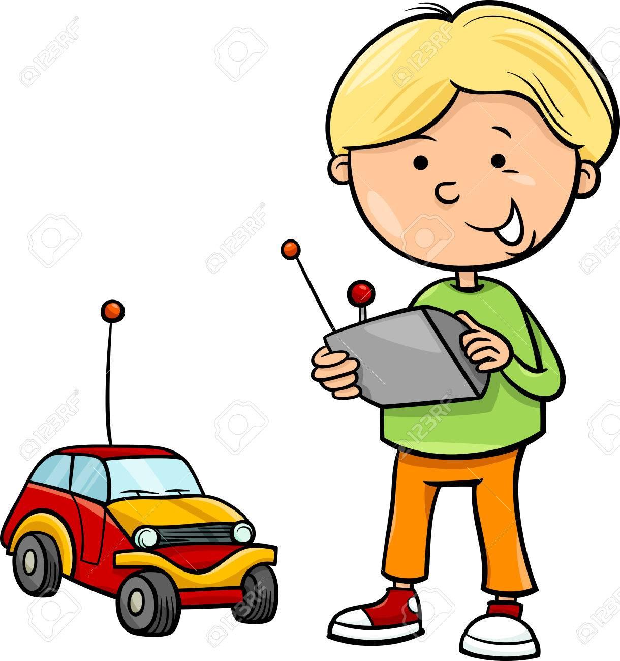 リモートのおもちゃの車、かわいい男の子の漫画イラスト ロイヤリティ