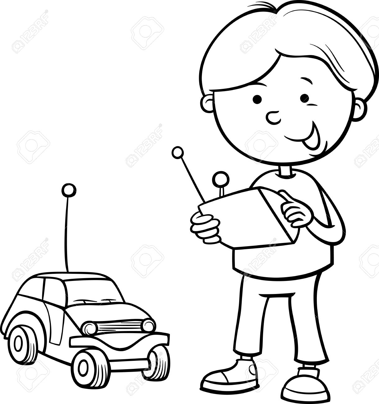 Black And White Cartoon Illustration Of Cute Boy With Remote Toy Car For Coloring Book Stock