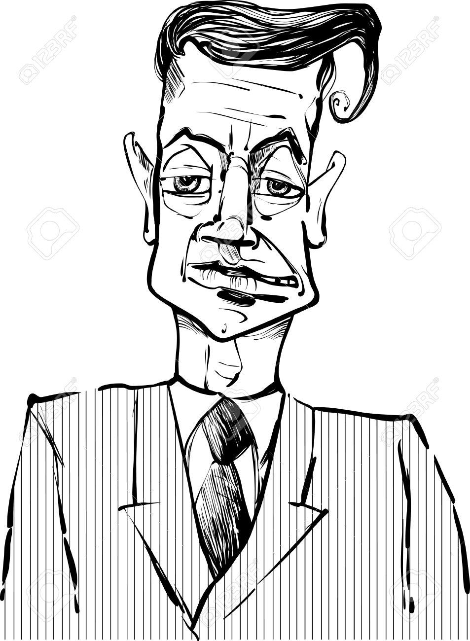 Favori Dessin Noir Et Blanc Illustration De L'homme I Costume Caricature  VD56