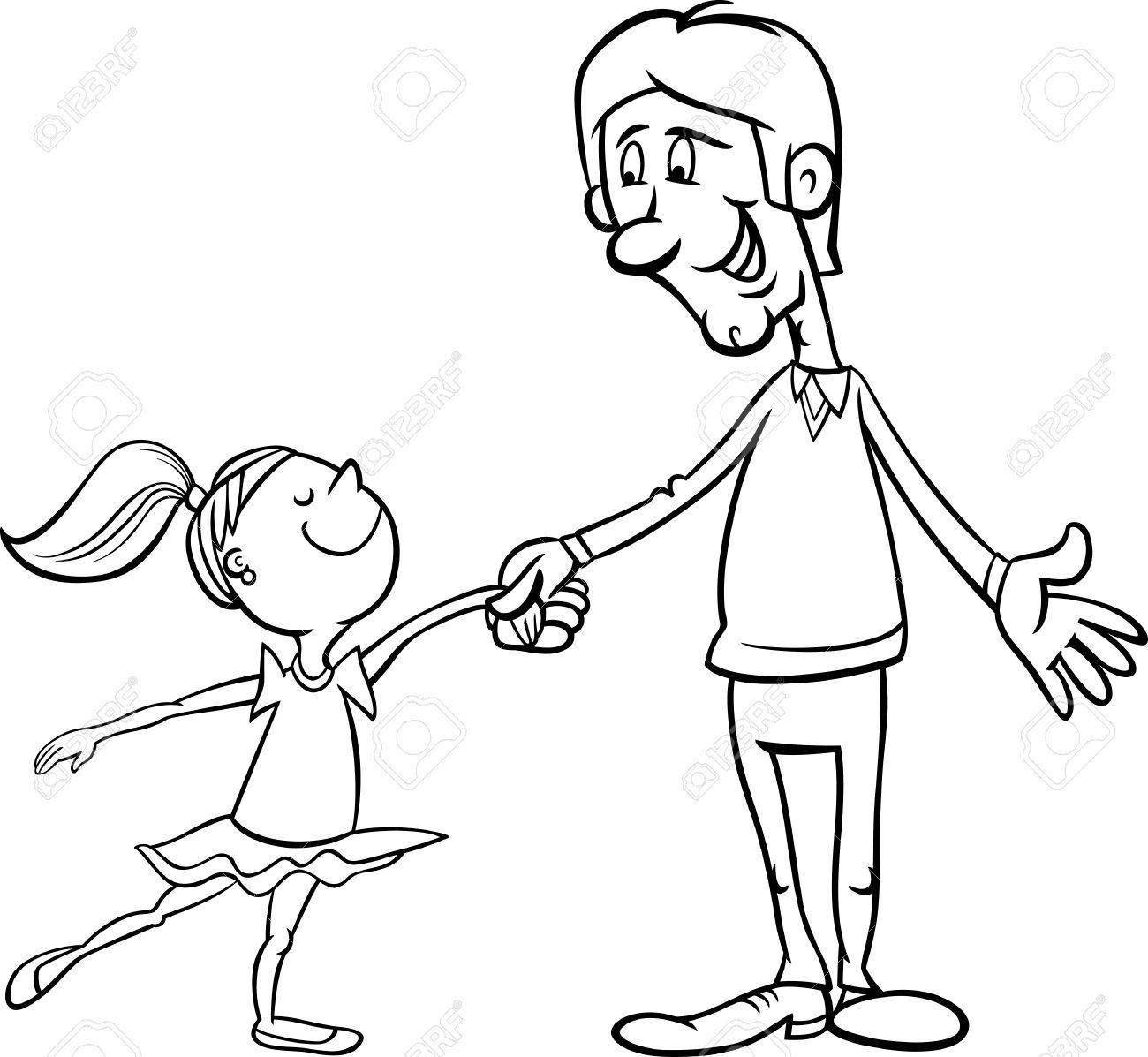 Historieta Blanco Y Negro Ilustración De Padre Y Little Ballet Hija ...
