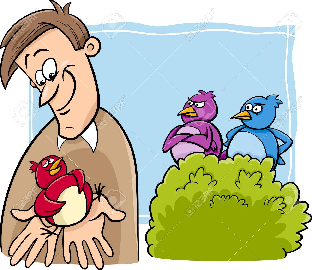 Cartoon Humor Concept Illustration of A Bird in the Hand is Worth Two in the Bush Saying or Proverb - 33123391