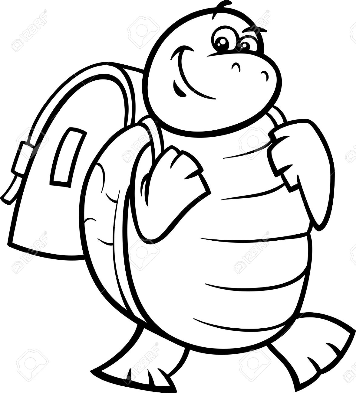 Coloring book bag - Black And White Cartoon Illustration Of Happy Turtle Animal Character With Satchel Or School Bag For