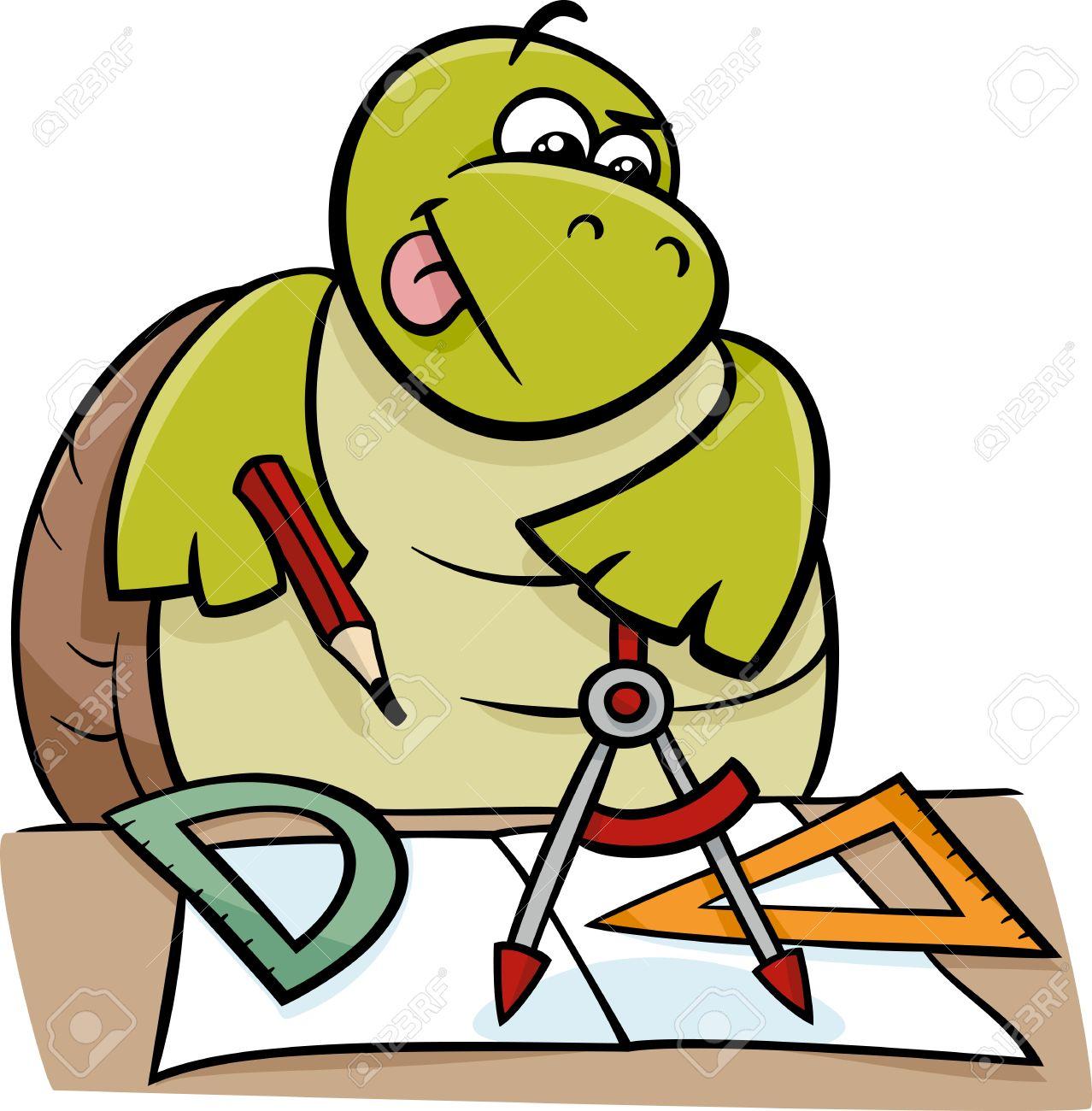 Cartoon Illustration Of Funny Turtle Animal Character On Geometry ...