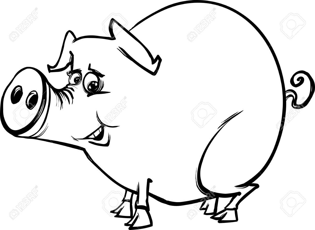 Black And White Cartoon Sketch Illustration Of Funny Pig Farm ...