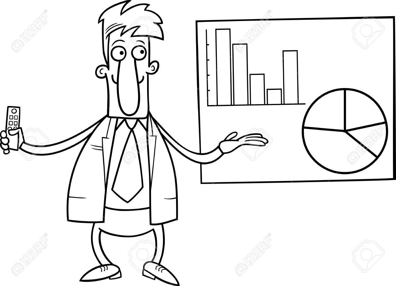 Animados Blanco Y Negro Ilustración De Hombre U Hombre De Negocios Que Hace Una Presentación De Negocios Para Coloring Book