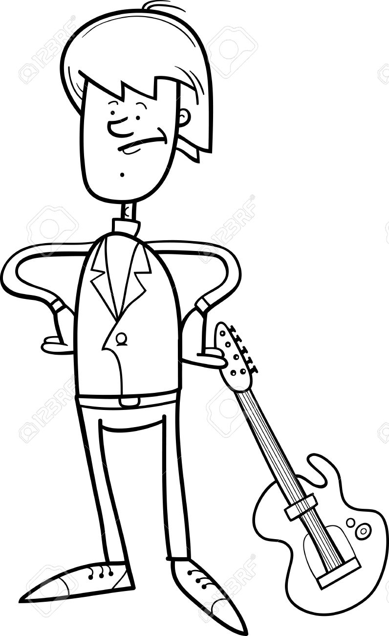 Black And White Cartoon Illustration Of Young Musician Or Rock Man With Electric Guitar For Coloring