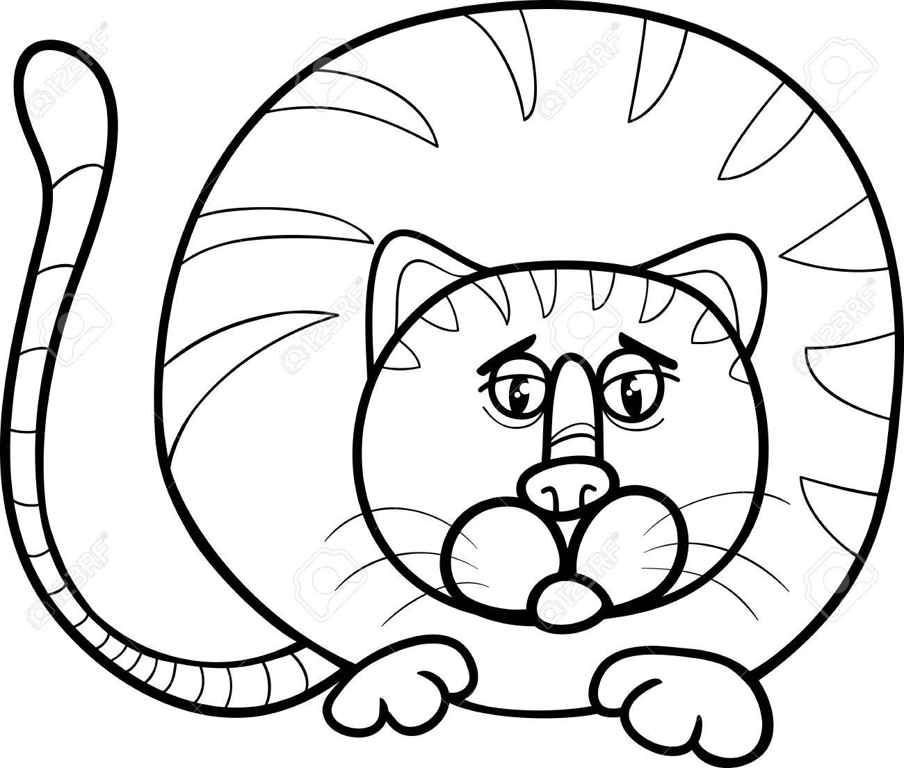 Black And White Cartoon Illustration Of Funny Fat Cat Character For Coloring Book Stock Vector