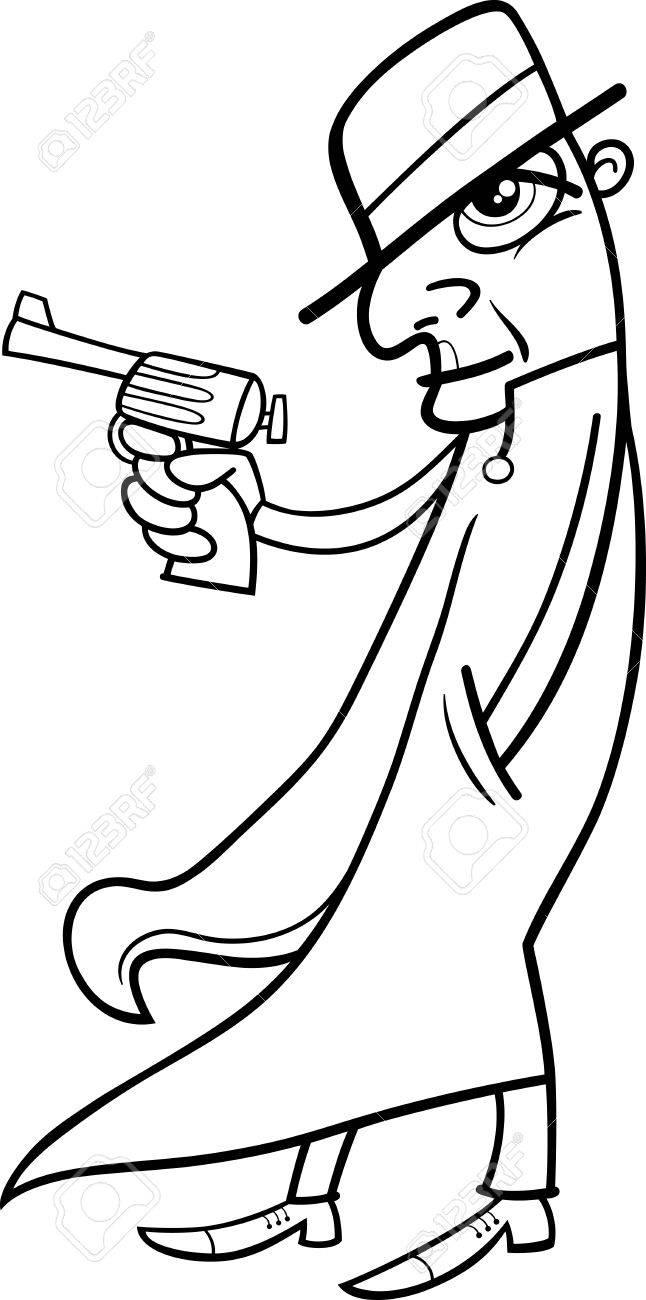 Noir Et Blanc Cartoon Illustration Du Detective Ou Gangster Avec Gun Clip Art Libres De Droits Vecteurs Et Illustration Image 34641602