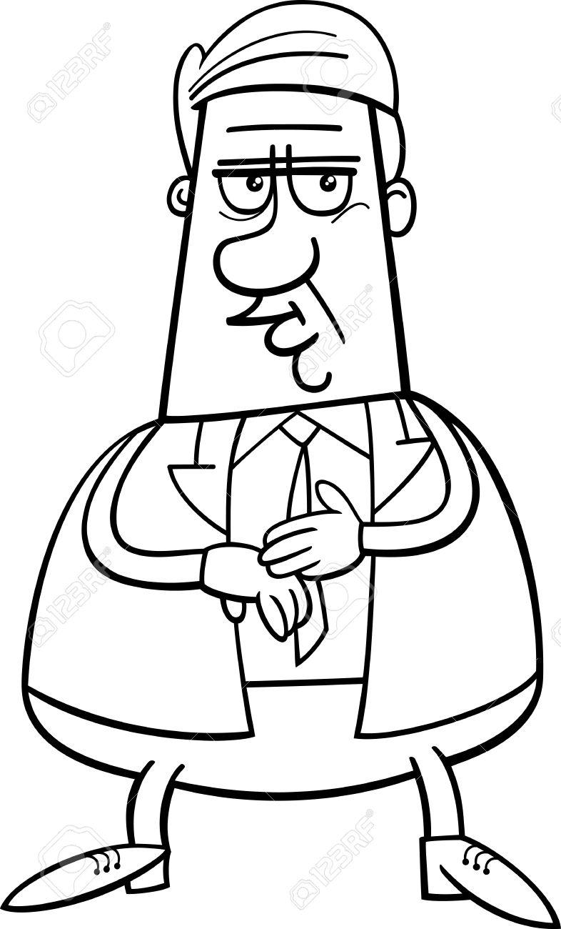 Animados Blanco Y Negro Ilustración Del Hombre De Negocios O El Administrador De Caracteres Para Coloring Book