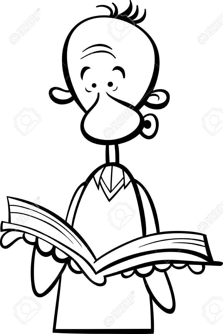 black and white cartoon illustration of funny man with open book