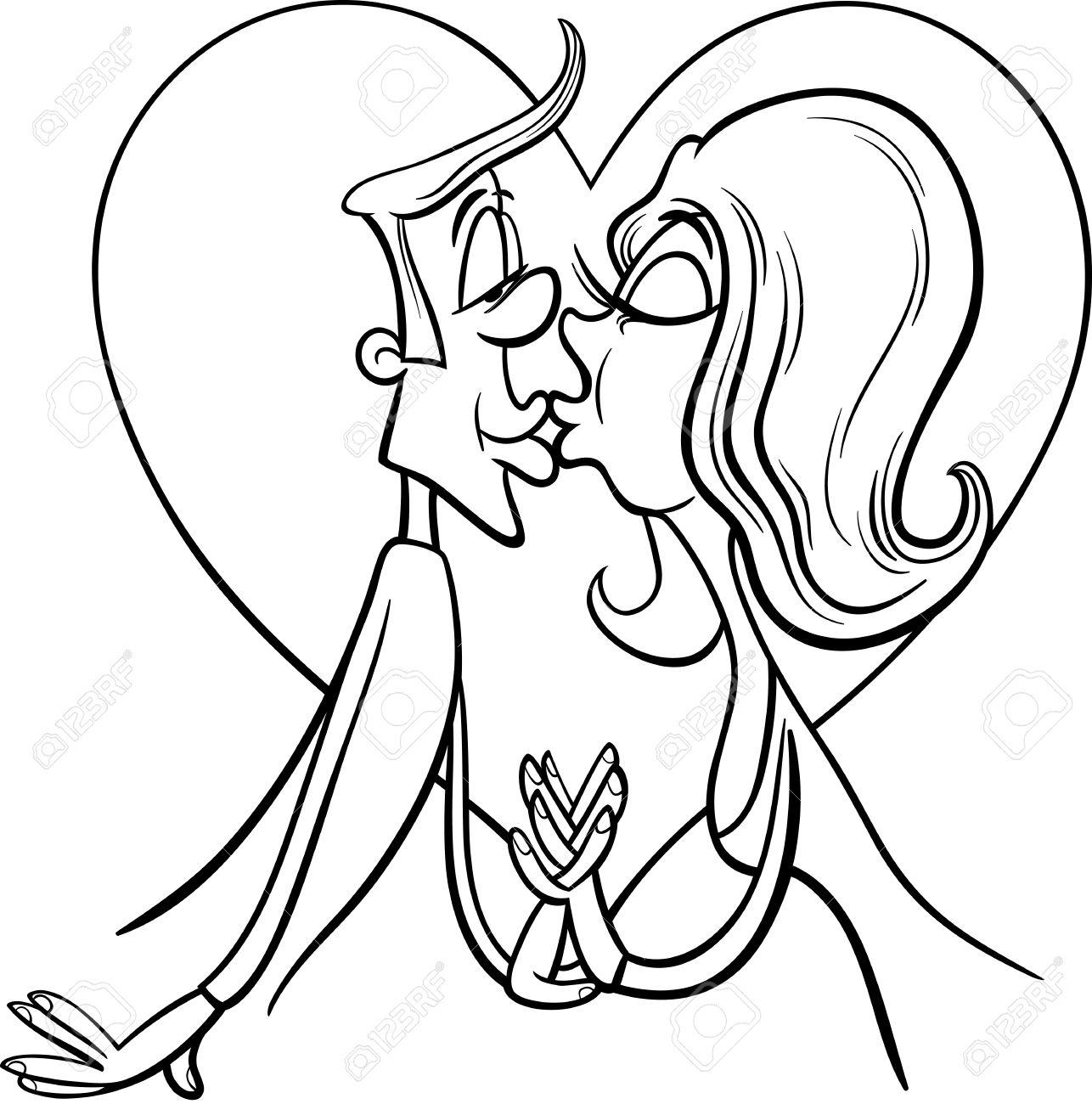 Blanco Y Negro Dia De San Valentin De Dibujos Animados Ilustracion