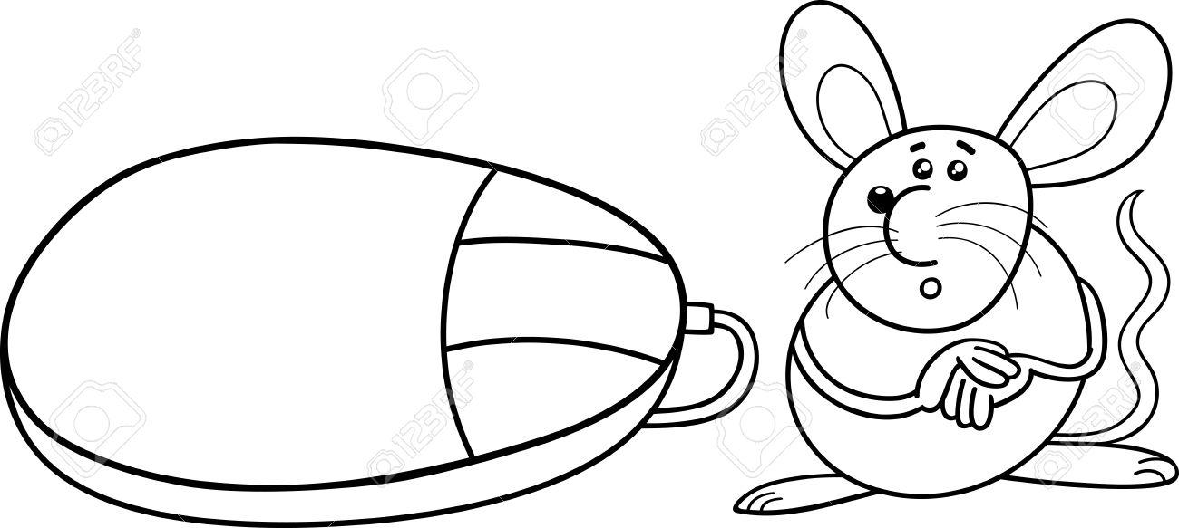Раскраски компьютерная мышь