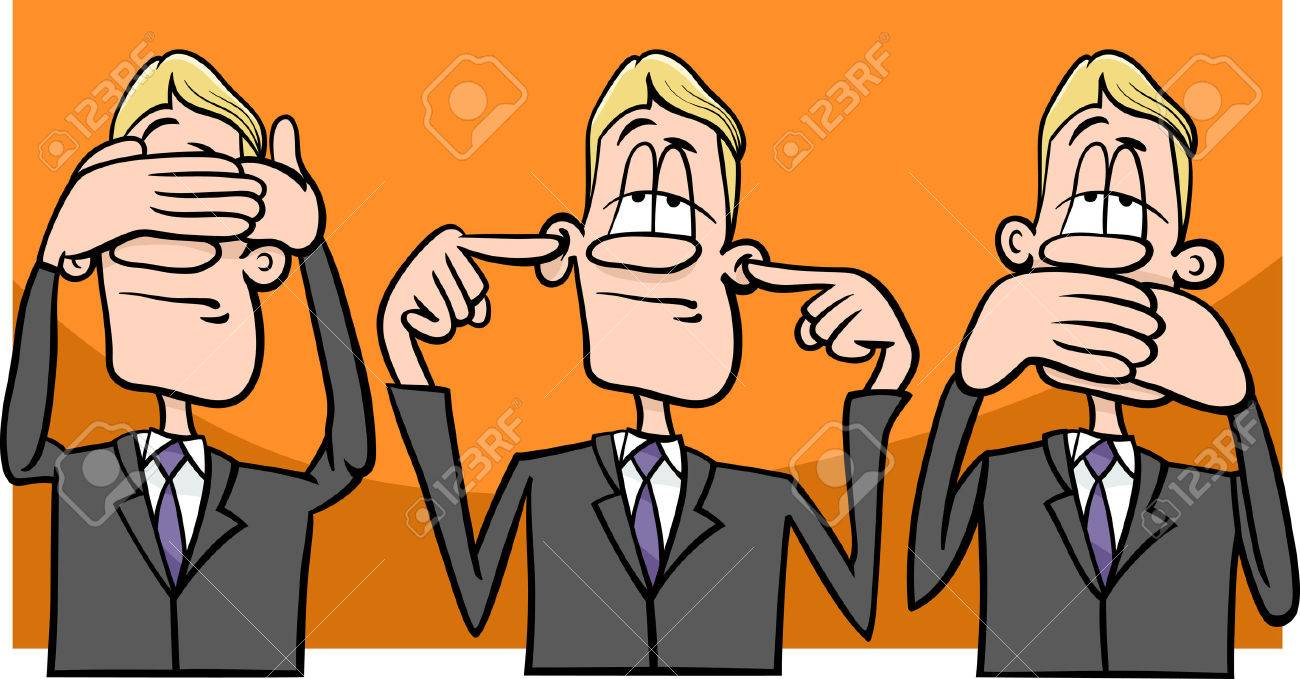 Cartoon humor concept illustration of see no evil hear no evil speak no evil saying or