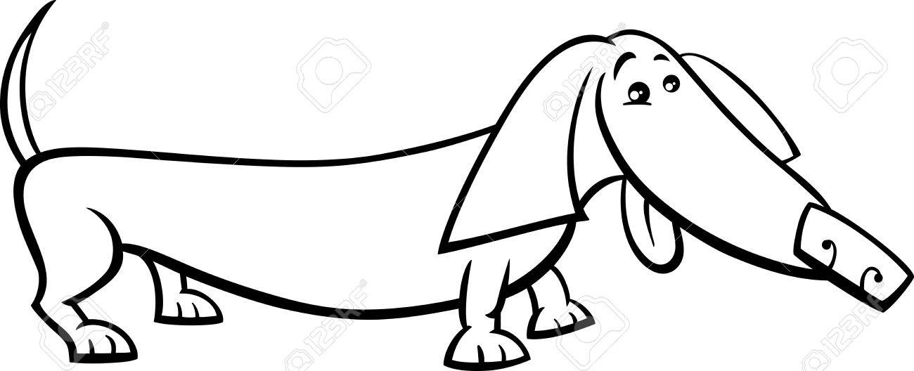 Black And White Cartoon Illustration Of Funny Purebred Dachshund Dog For Coloring Book Stock Vector