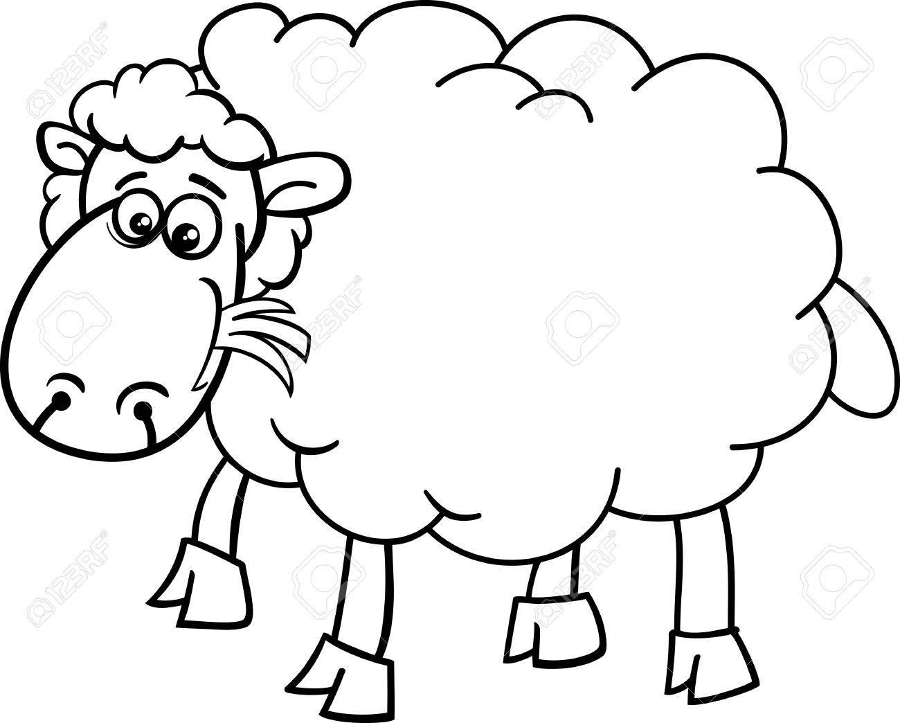 Black And White Cartoon Illustration Von Funny Sheep Nutztiere Für