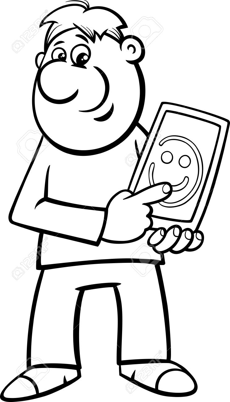 Black And White Cartoon Illustration Of Man Drawing Smile On Tablet PC For Coloring Book Stock