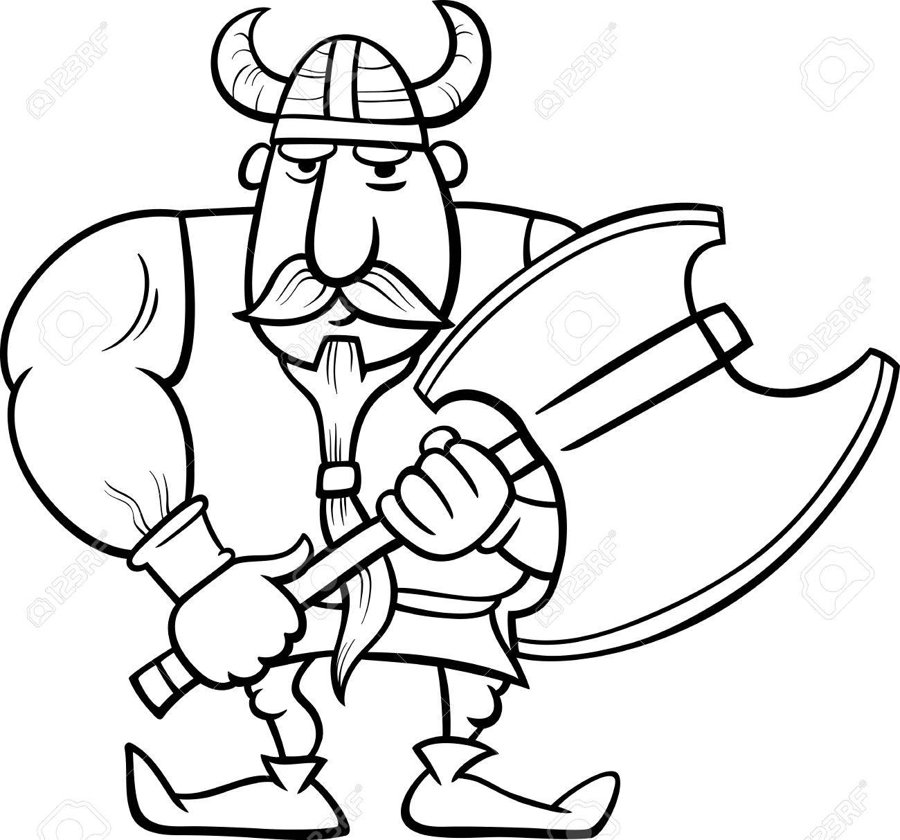 Black And White Cartoon Illustration Of Viking Or Knight With