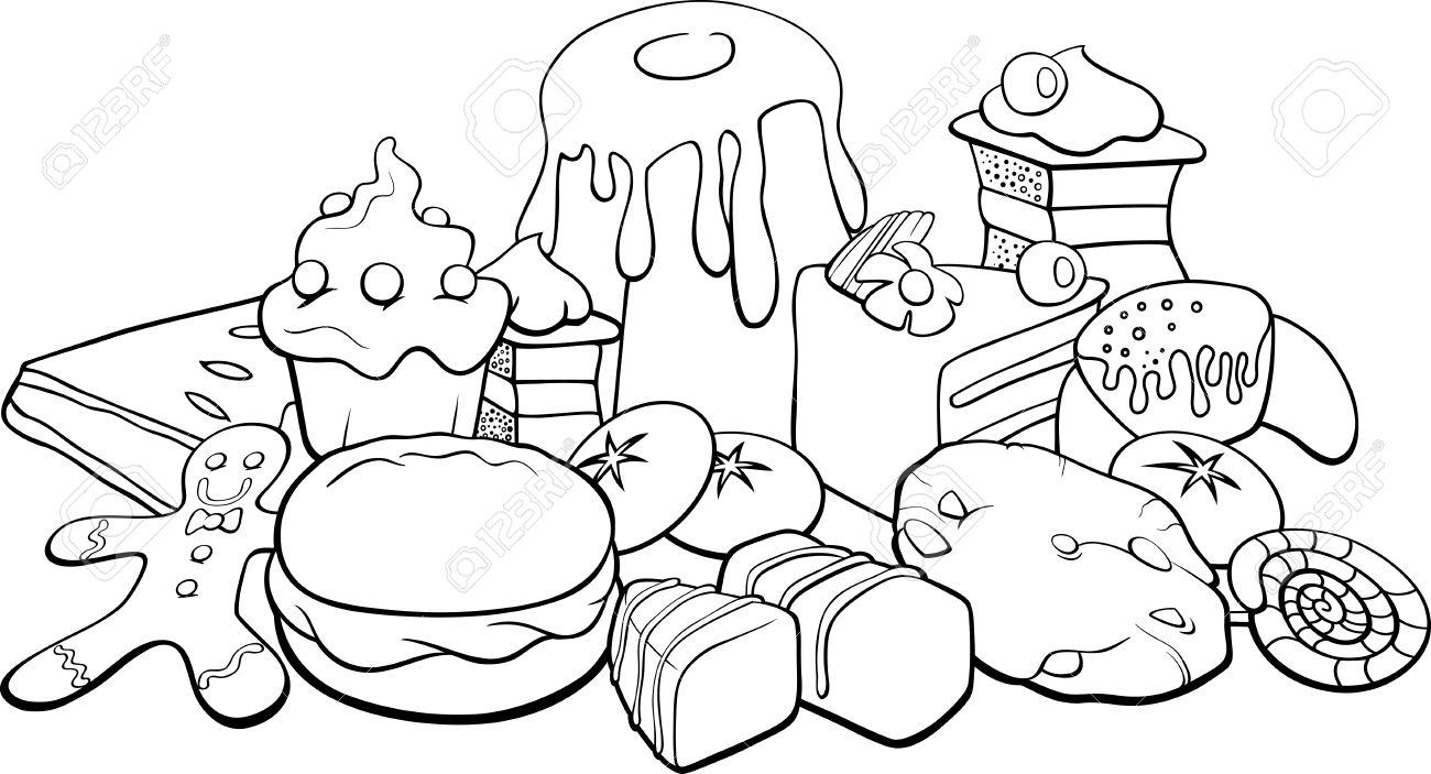 黒と白漫画甘い食べ物のイラスト塗り絵のケーキやクッキーのようなの