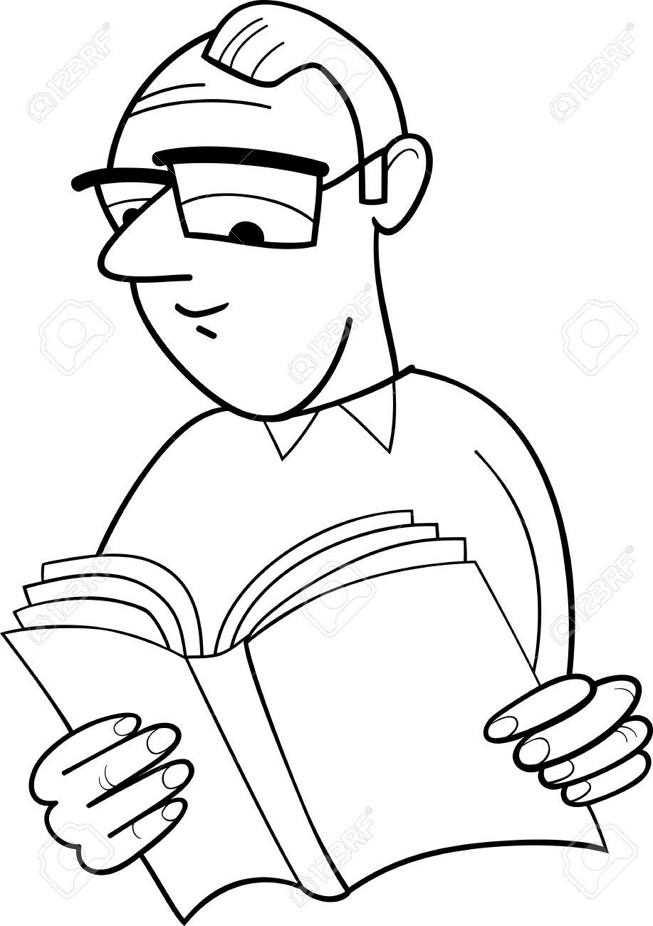 Historieta Blanco Y Negro Ilustración De Reader Con Libro Para ...
