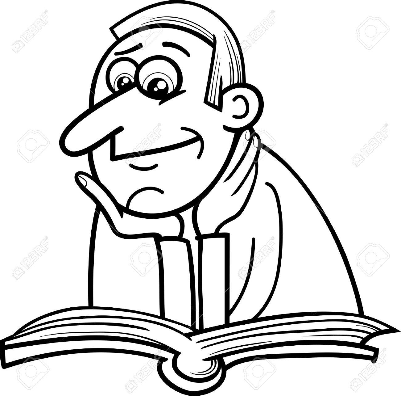 Historieta Blanco Y Negro Ilustración De Reader Hombre Con Libro ...