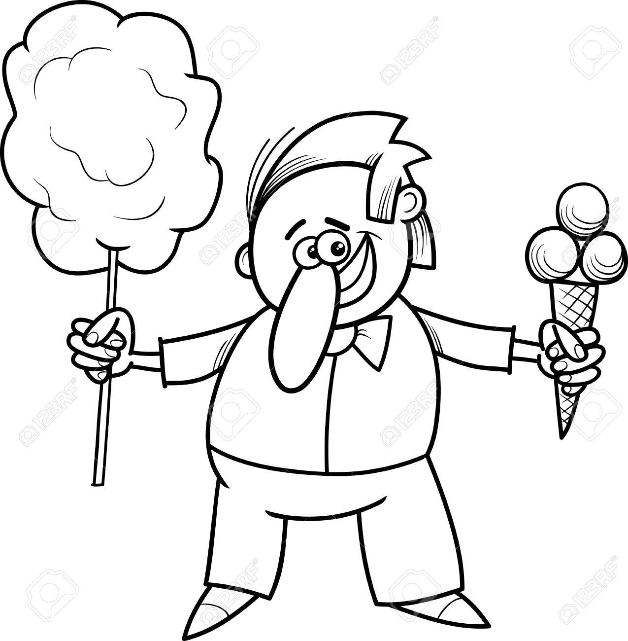 Black And White Cartoon Illustration Of Ice Cream And Candy Floss ...