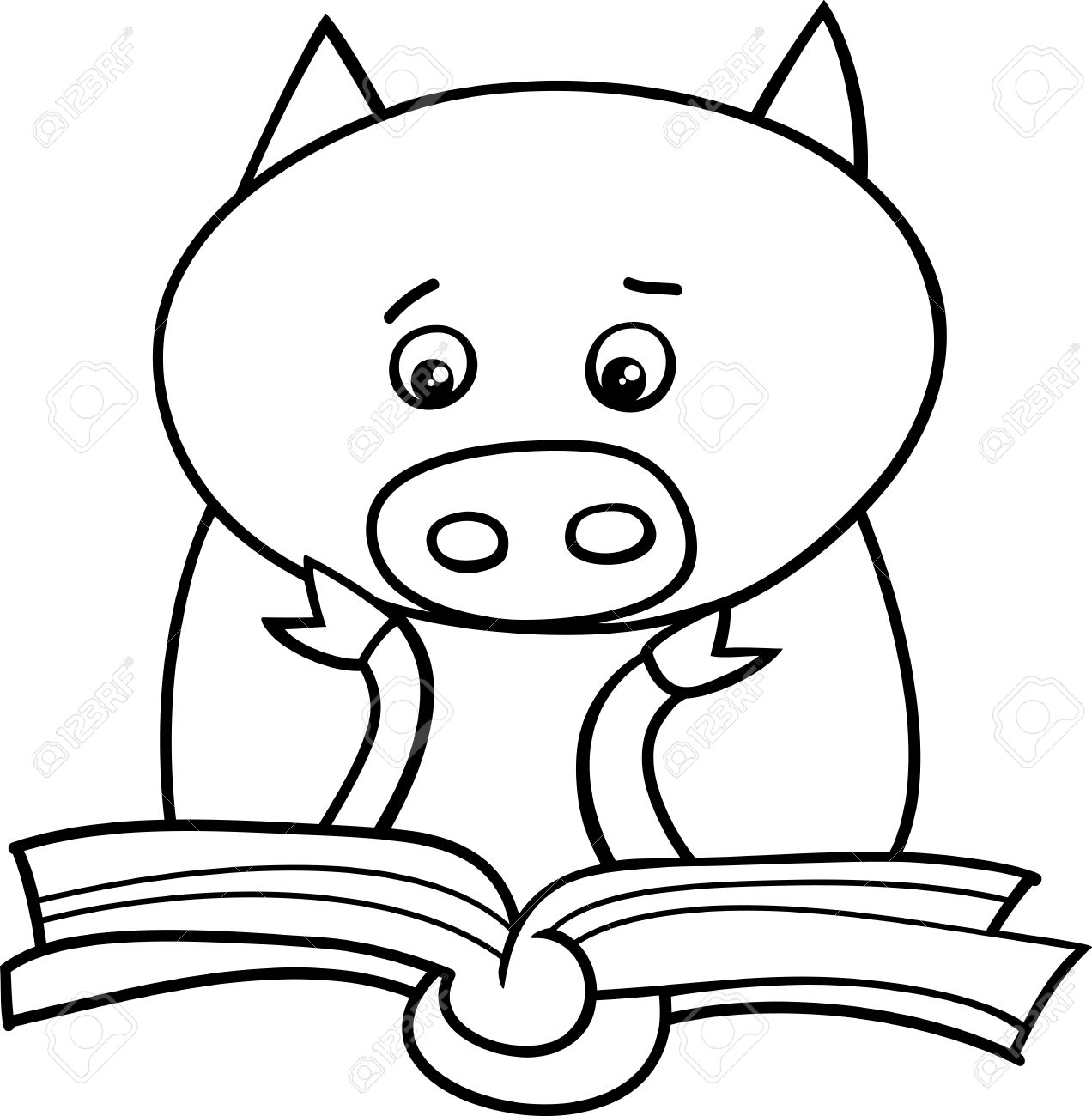 black and white cartoon illustration of funny pig animal character rh 123rf com Spring into Reading Clip Art Cute Reading
