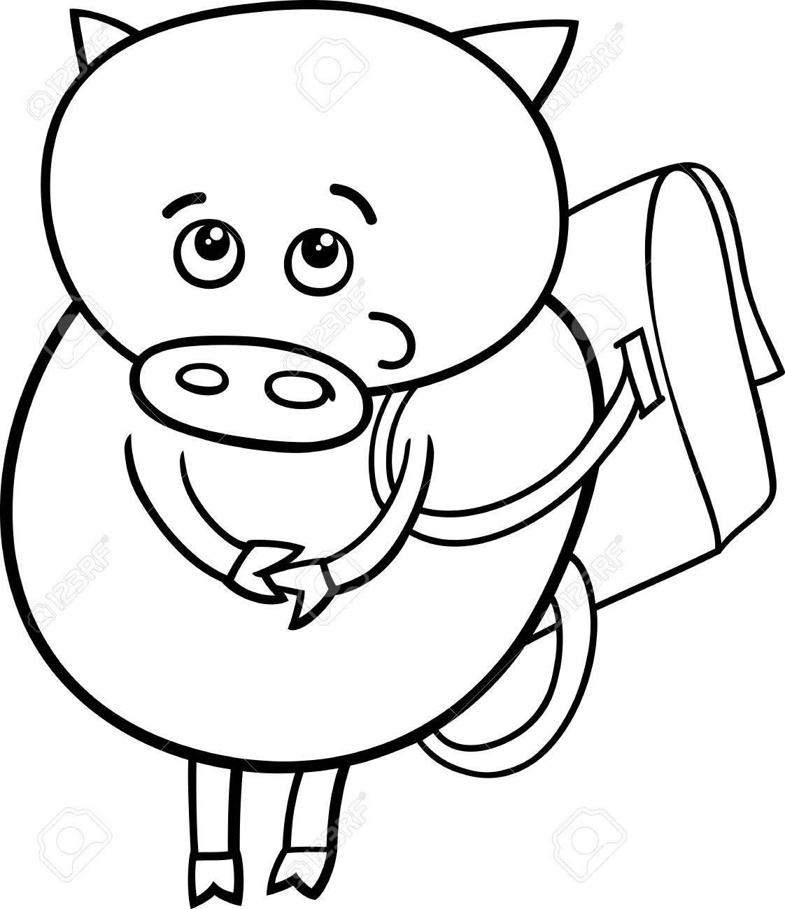 Schule clipart schwarz weiß  Schwarz Und Weiß Karikatur Illustration Der Lustige Schwein Tier ...