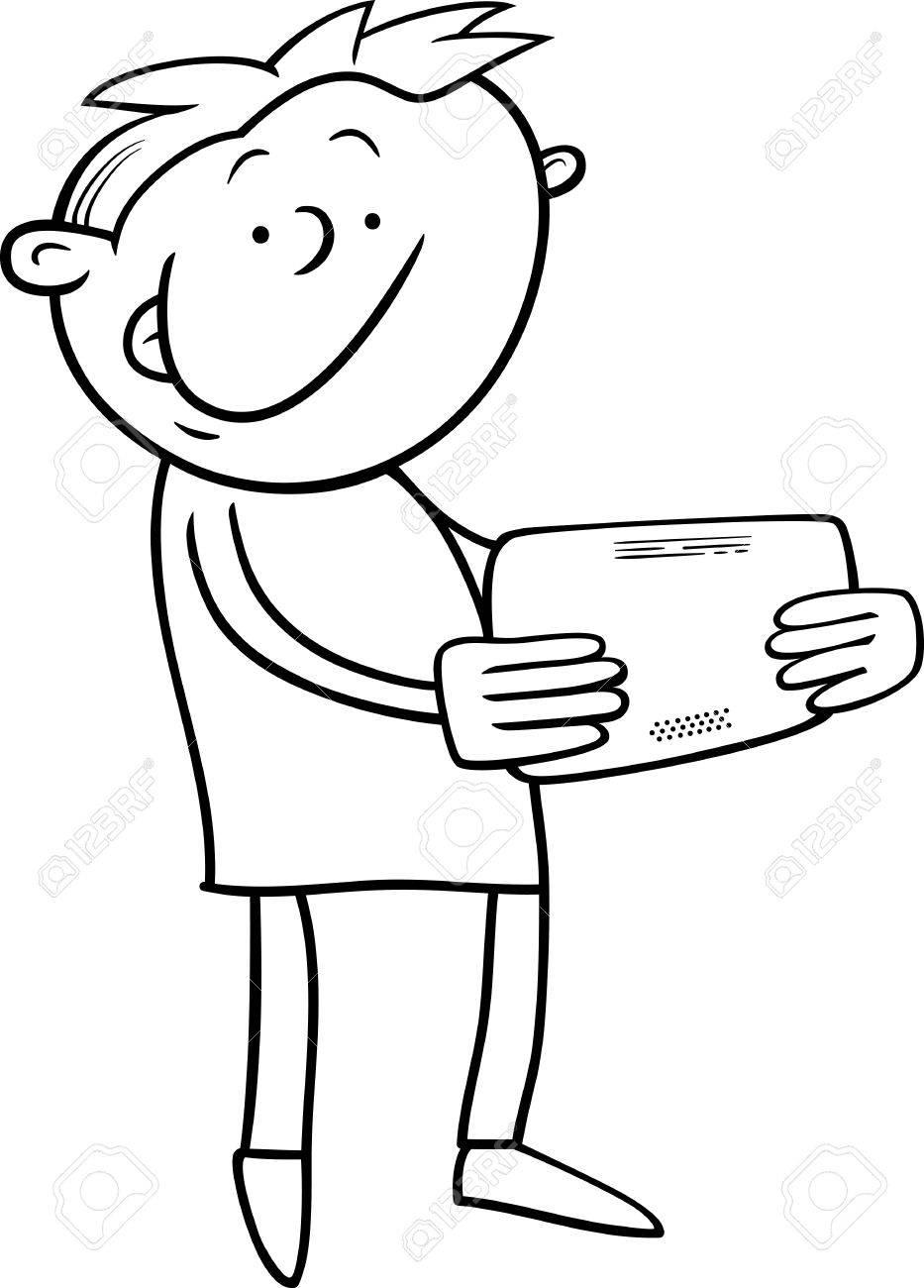 塗り絵のタブレットで遊ぶ子供男の子の白黒漫画イラストのイラスト素材