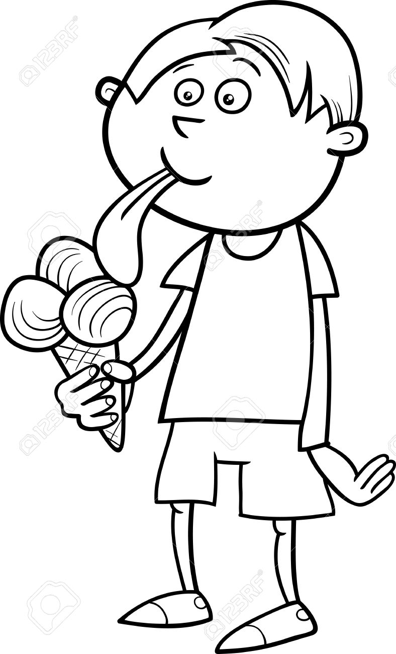 Black And White Cartoon Illustration Of Kid Boy Eating Ice Cream For Coloring Book Stock Vector