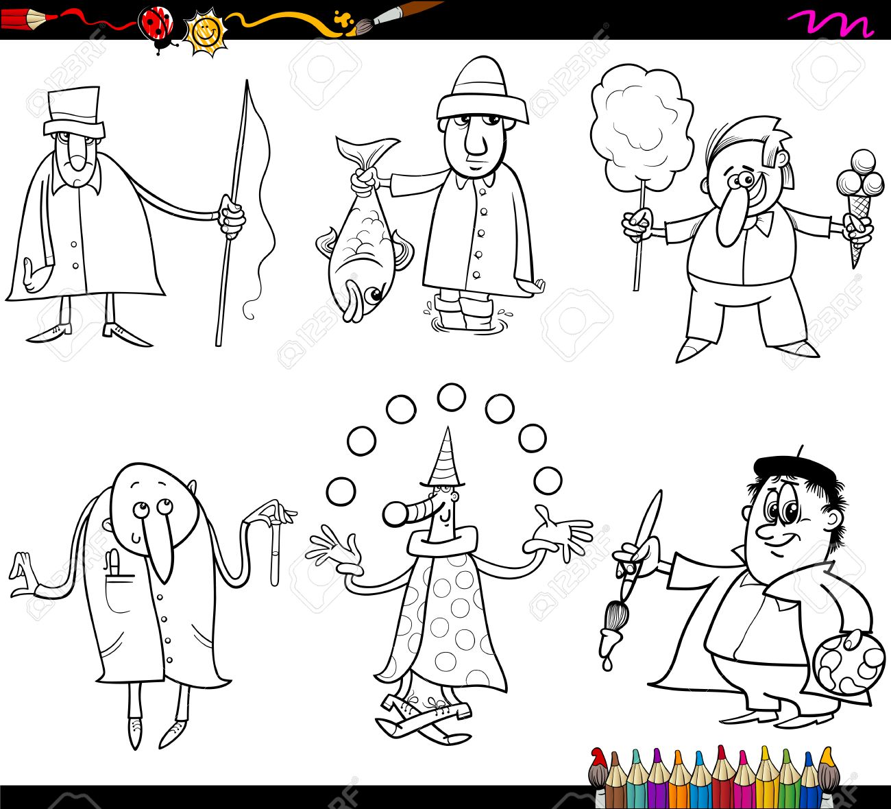 Coloring Book Cartoon Illustration Of Funny Professional People ...