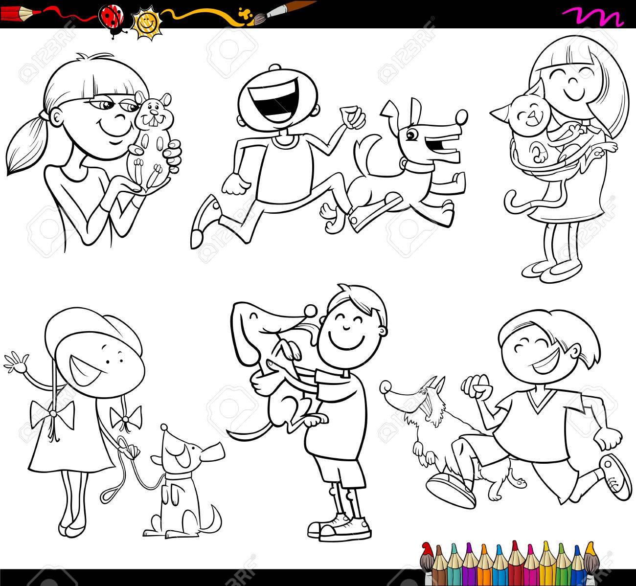 ペット キャラクターで子供のぬりえ本漫画イラスト セットのイラスト素材