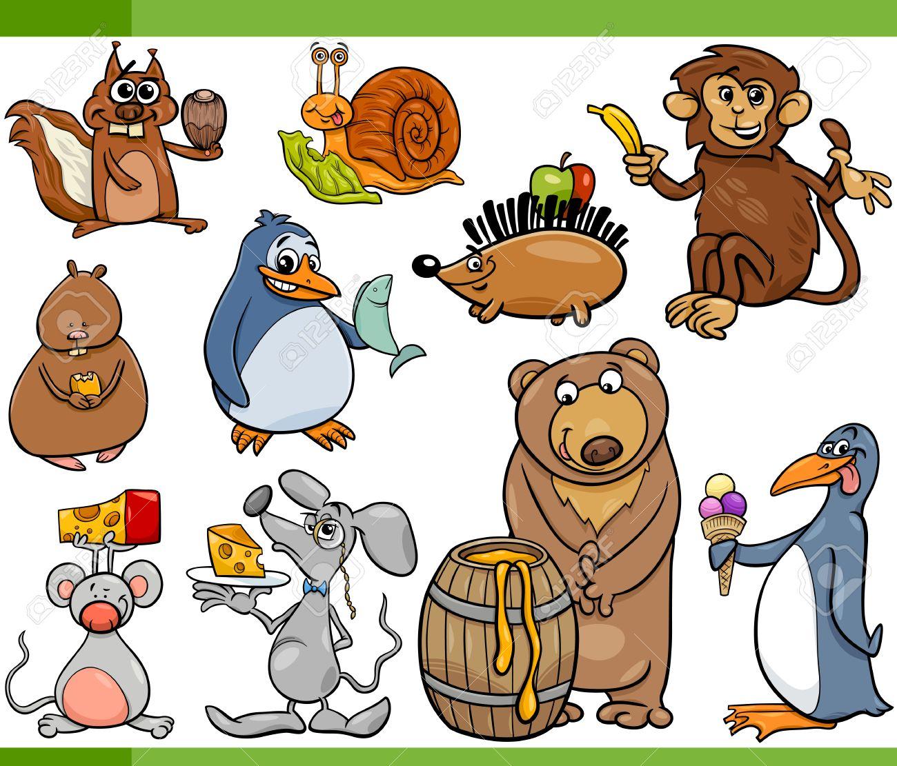 漫画イラスト設定の変な動物の好きな食べ物で ロイヤリティフリー