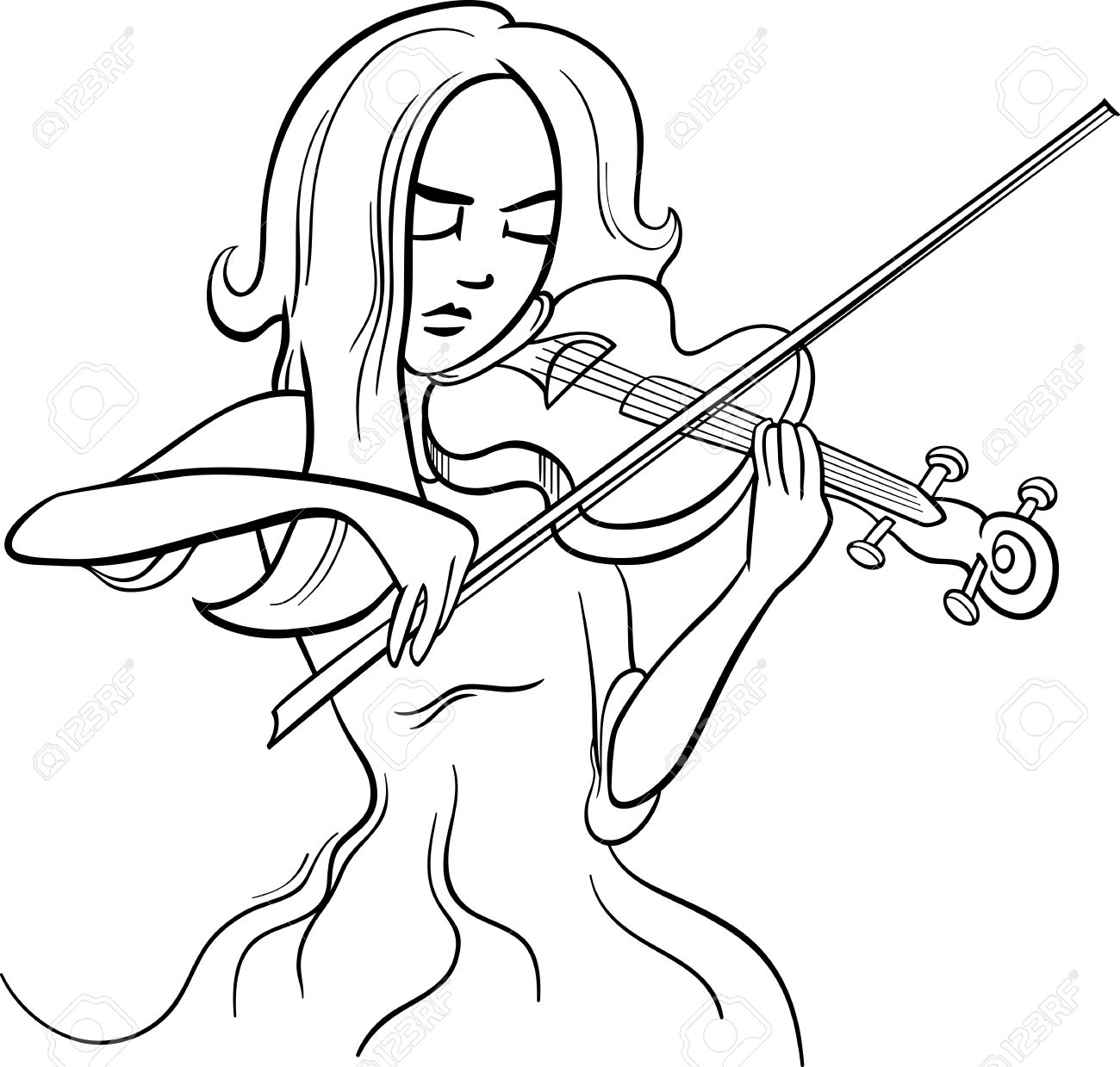 Black And White Cartoon Illustration Of Violinist Woman Or Beautiful ... for violin cartoon black and white  181obs