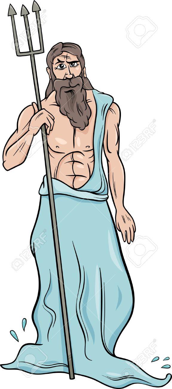 ギリシャの神話の神ポセイドンの漫画イラストのイラスト素材ベクタ