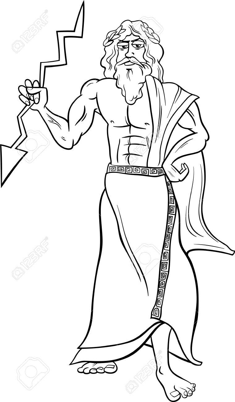 Historieta Blanco Y Negro Ilustración De Mitológico Dios Griego Zeus ...