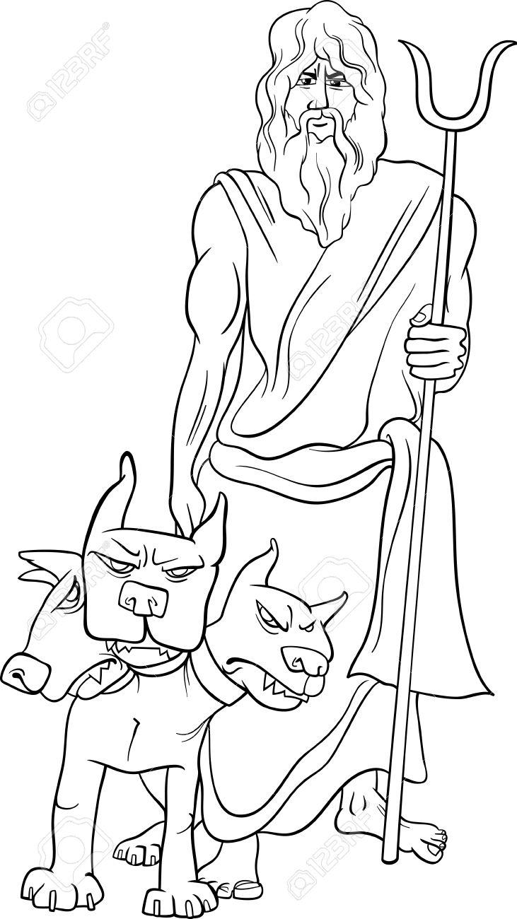 Historieta Blanco Y Negro Ilustración De Mitológico Dios Griego ...