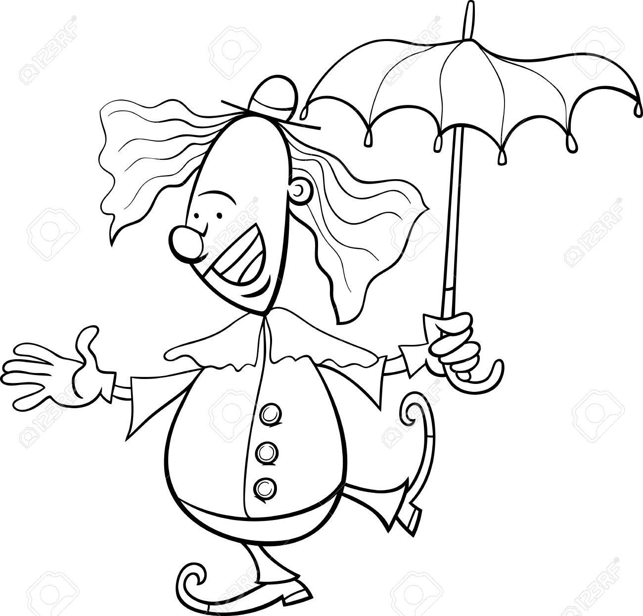 Black And White Cartoon Illustration Of Funny Clown Circus Performer With Umbrella For Coloring Book Stock