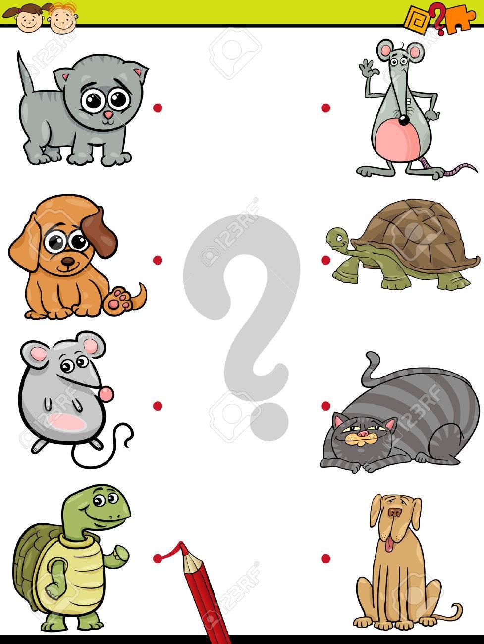 漫画イラストの教育要素マッチング ゲーム就学前児動物と好きな食べ物