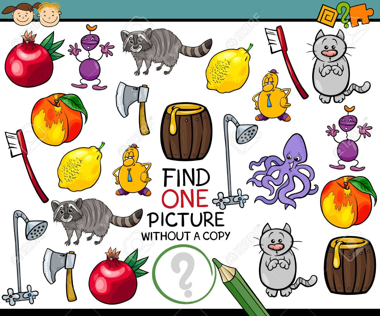 Cartoon Illustration of Finding Single Picture without a Pair Educational Game for Preschool Children - 40902607