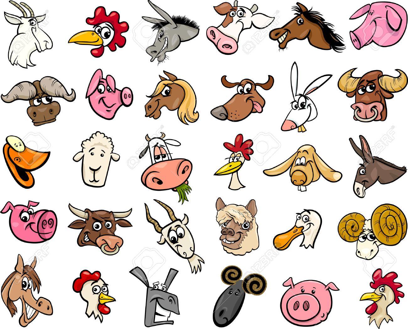 Cartoon Illustration of Funny Farm Animals Heads Big Set Stock Vector - 41029371