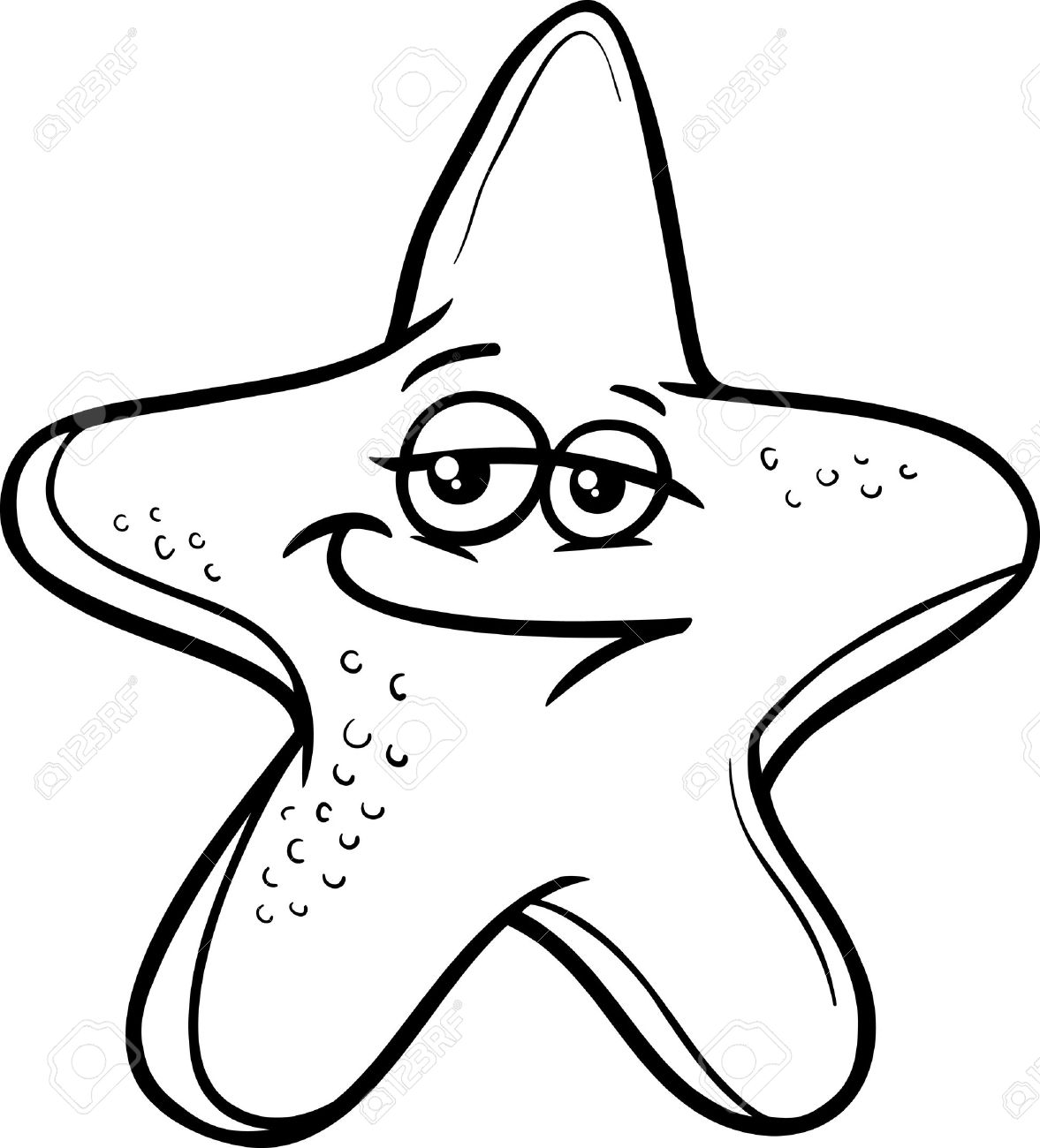 Black And White Cartoon Illustration Of Funny Starfish Sea Animal ... for Starfish Clipart Black And White  103wja